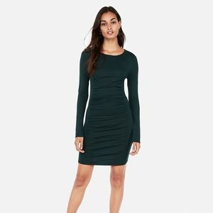 Ruched Long Sleeve Sweater Dress